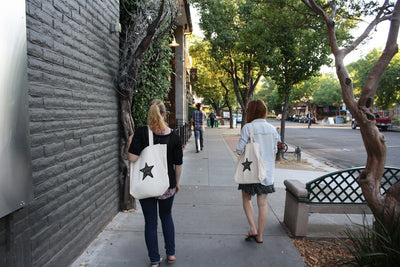 Re-usable Tote Bag - Starfish Silhouette Design Extra Large Eco Friendly Reusable Cotton Canvas Tote Bag