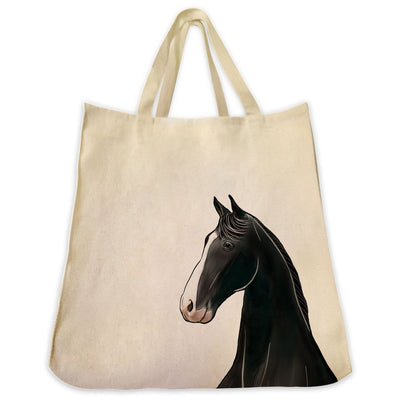 Re-usable Tote Bag - Tennessee Walking Horse Portrait Illustration Extra Large Eco Friendly Reusable Cotton Canvas Tote Bag