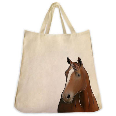 Re-usable Tote Bag - Thoroughbred Horse Portrait Design Extra Large Eco Friendly Reusable Cotton Canvas Tote Bag