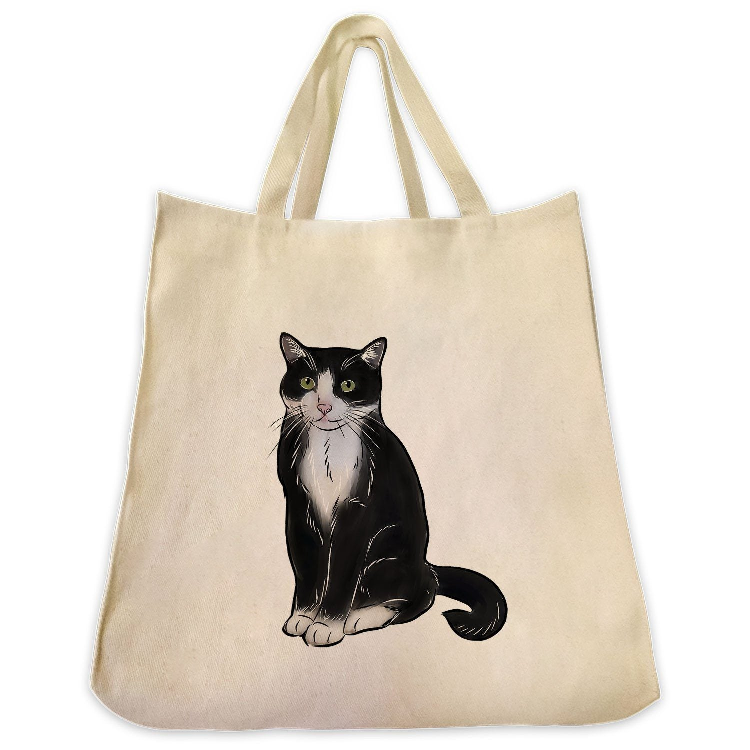 14c8819d36 Re-usable Tote Bag - Tuxedo Cat Full Body Design Extra Large Eco Friendly  Reusable