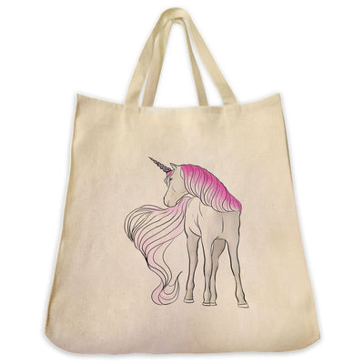 Re-usable Tote Bag - Unicorn With White Tail Color Full Body Design Extra Large Eco Friendly Reusable Cotton Canvas Tote Bag