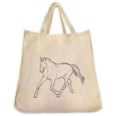 Re-usable Tote Bag - Warmblood Horse Outline Design Extra Large Eco Friendly Reusable Cotton Canvas Tote Bag