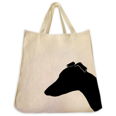 Re-usable Tote Bag - Whippet Silhouette Extra Large Eco Friendly Reusable Cotton Canvas Tote Bag