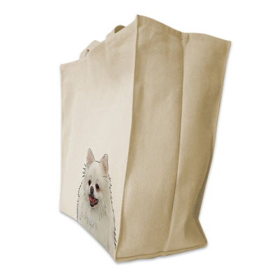 Re-usable Tote Bag - White Pomeranian Dog Extra Large Eco Friendly Reusable Cotton Canvas Tote Bag