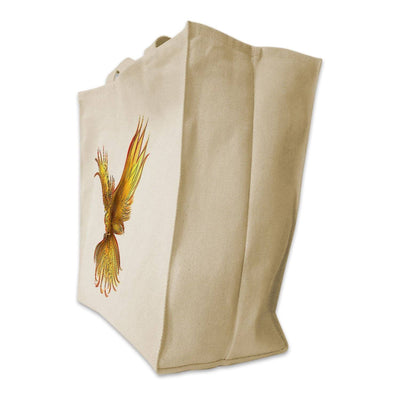 Re-usable Tote Bag - Yellow Phoenix Color Full Body Design Extra Large Eco Friendly Reusable Cotton Canvas Tote Bag