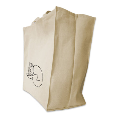 Re-usable Tote Bag - Yoga Cat Yawning Pose Outline Design Extra Large Eco Friendly Reusable Cotton Canvas Tote Bag