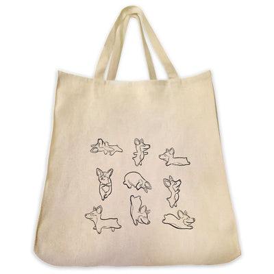 Re-usable Tote Bag - Yoga Dogs Outline Designs Extra Large Eco Friendly Reusable Cotton Canvas Tote Bag