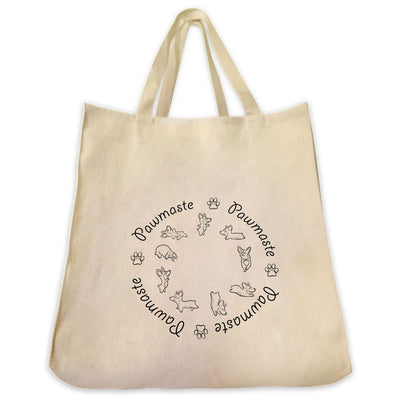 Re-usable Tote Bag - Yoga Dogs Pawmaste Mantra Circle  Outline Design Extra Large Eco Friendly Reusable Cotton Canvas Tote Bag