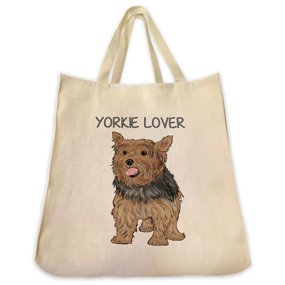 "Re-usable Tote Bag - Yorkshire Terrier Color Full Body ""Yorkie Lover"" Design Extra Large Eco Friendly Reusable Cotton Canvas Tote Bag"