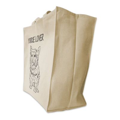 "Re-usable Tote Bag - Yorkshire Terrier Outline Full Body ""Yorkie Lover"" Design Extra Large Eco Friendly Reusable Cotton Canvas Tote Bag"