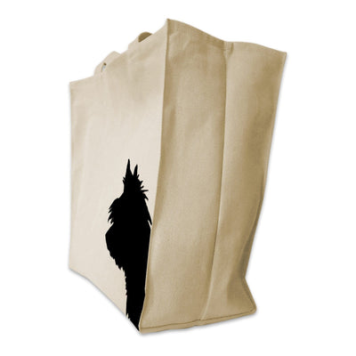 Re-usable Tote Bag - Yorkshire Terrier Silhouette Extra Large Eco Friendly Reusable Cotton Canvas Tote Bag