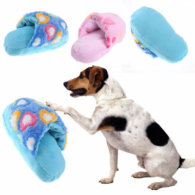 Soft Dog Toys Sound Plush Slippers Toys For Dog Puppy Cats Chew Squeaker Squeaky Pet Dog's Supplies Random Color