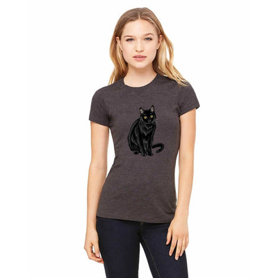 T-shirts - Bella + Canvas Fitted Tee With A Black Cat Full Body Design