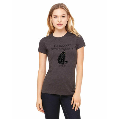 "T-shirts - Bella + Canvas Fitted Tee With A Black Cat With ""If A Black Cat Crosses Your Path"" Text Design"