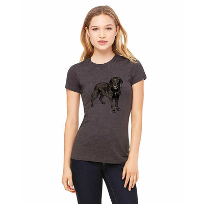 T-shirts - Bella + Canvas Fitted Tee With A Black Labrador Retriever Design