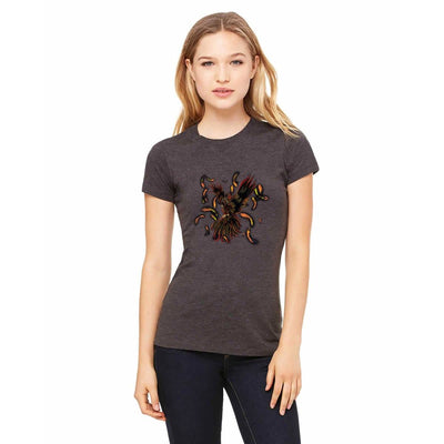 T-shirts - Bella + Canvas Fitted Tee With A Black Phoenix With Background Design
