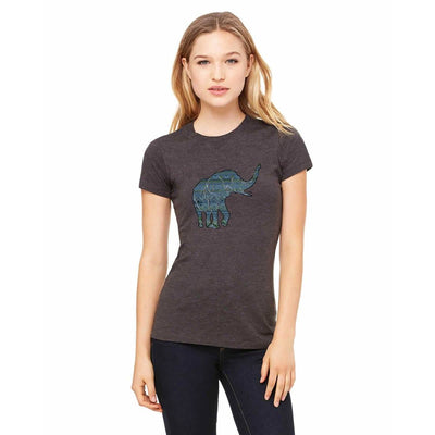 T-shirts - Bella + Canvas Fitted Tee With A Blue Aztec African Elephant Pattern Design