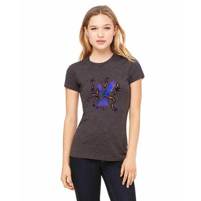 T-shirts - Bella + Canvas Fitted Tee With A Blue Phoenix With Background Design