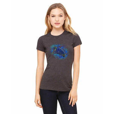 T-shirts - Bella + Canvas Fitted Tee With A Blue Sea Turtle With Background Design