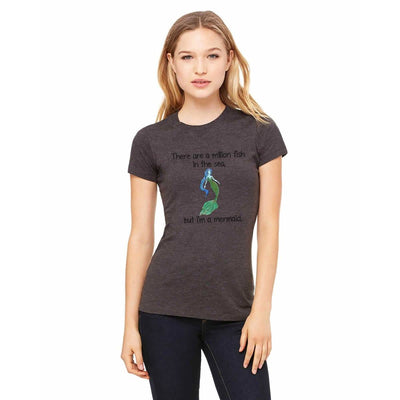 "T-shirts - Bella + Canvas Fitted Tee With A Green Mermaid With ""But I'm A Mermaid"" Text Design"