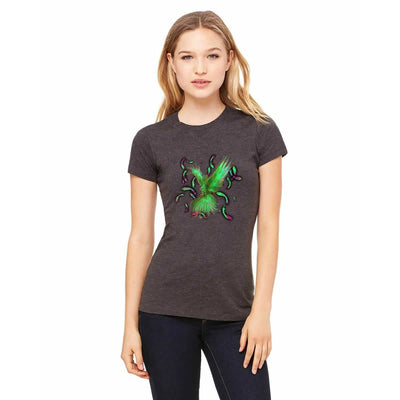 T-shirts - Bella + Canvas Fitted Tee With A Green Phoenix With Background Design