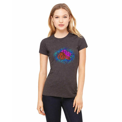 T-shirts - Bella + Canvas Fitted Tee With A Hermit Crab With A Purple Shell And Background Design