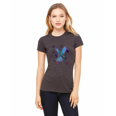 T-shirts - Bella + Canvas Fitted Tee With A Light Blue Phoenix With Background Design