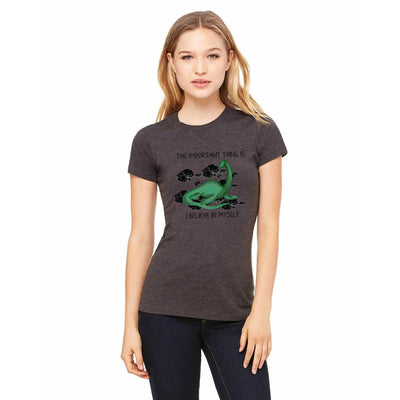 "T-shirts - Bella + Canvas Fitted Tee With A Loch Ness Monster And ""I Believe In Myself"" Text And Background Design"