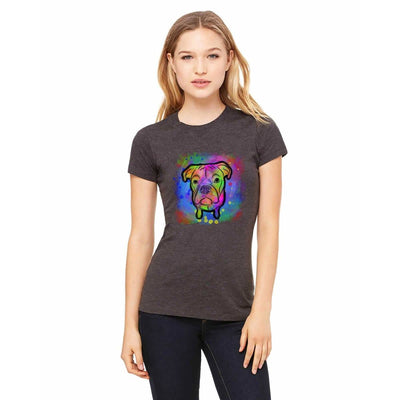 T-shirts - Bella + Canvas Fitted Tee With A Neon Rainbow Boxer With Background Design