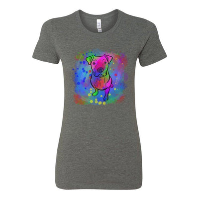 T-shirts - Bella + Canvas Fitted Tee With A Neon Rainbow Pit Bull With Background Design