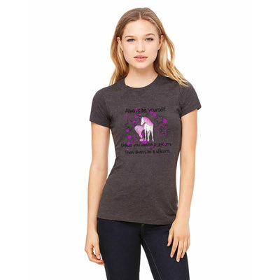 "T-shirts - Bella + Canvas Fitted Tee With A Pink Tail Unicorn With ""Be Yourself"" Text And Background Design"