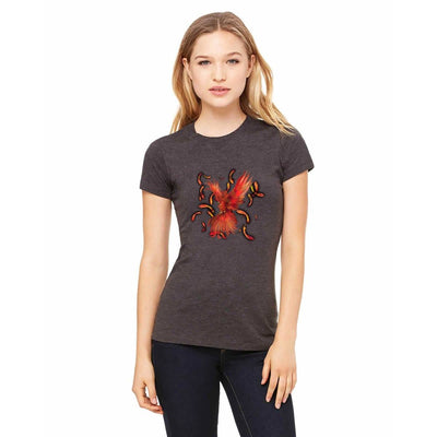 T-shirts - Bella + Canvas Fitted Tee With A Red Phoenix With Background Design