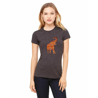 T-shirts - Bella + Canvas Fitted Tee With An Orange Asian Elephant Pattern Design