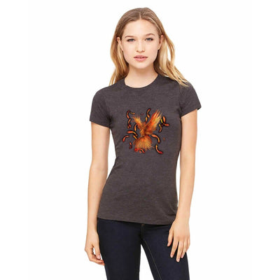 T-shirts - Bella + Canvas Fitted Tee With An Orange Phoenix With Background Design