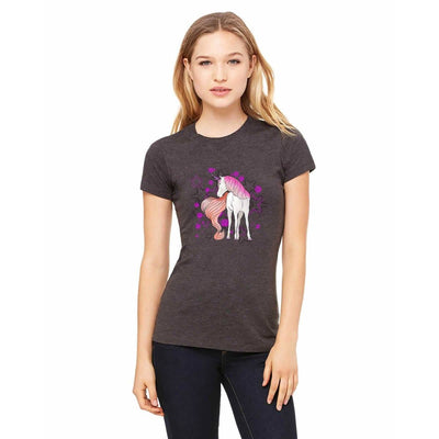 T-shirts - Bella + Canvas Fitted Tee With An Orange Tail Unicorn With Background Design