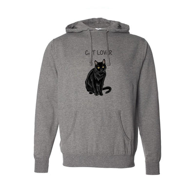 "T-shirts - Independent Brand Unisex Hoodie With A Black Cat With ""Cat Lover"" Text Design"