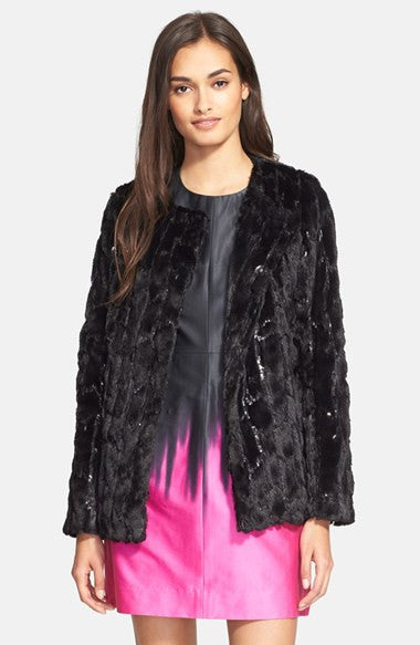 Milly Sequin & Faux Fur Jacket