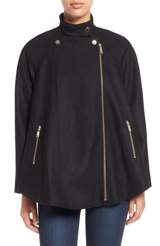Ted Baker London Asymmetrical Zip Wool Blend Cape Coat