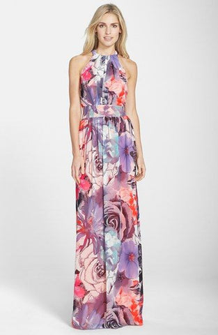 Eliza J Print Chiffon Maxi Dress