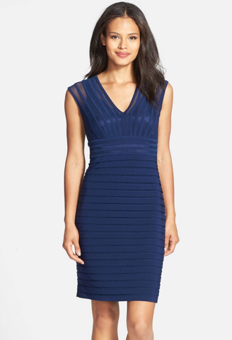 Adrianna Papell Shutter Pleat Jersey Sheath Dress (Petite)