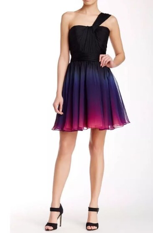 Halston Heritage One Shoulder Chiffon Ombre Dress