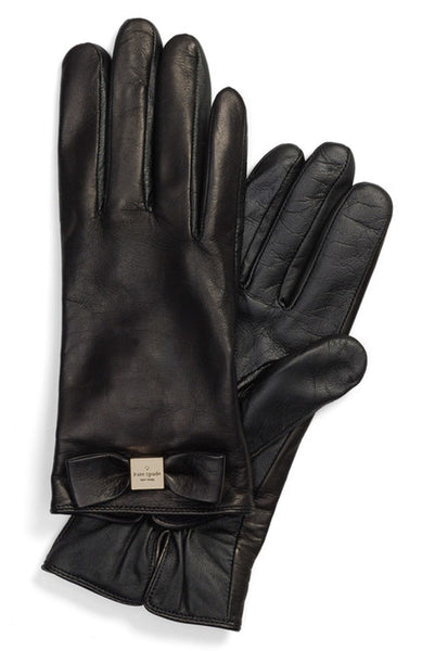 Kate Spade New York Bow Logo Genuine Leather Gloves - Multiple Sizes