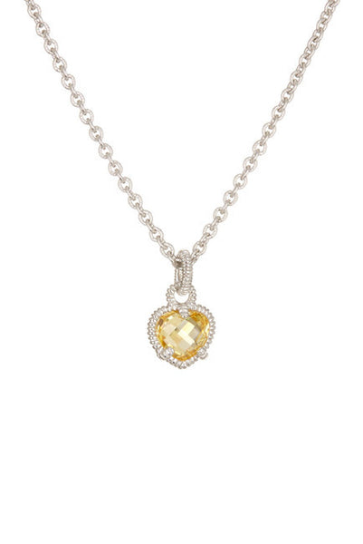 Judith Ripka Sterling Silver Faceted Canary Crystal Heart Pendant Necklace