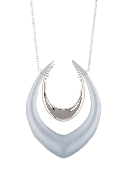 Alexis Bittar Liquid Metal Double Crescent Pendant Necklace