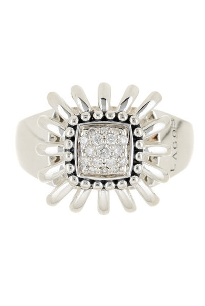 LAGOS Sterling Silver Pret-A-Porter Diamond Ring - Size 7 - 0.15 ctw