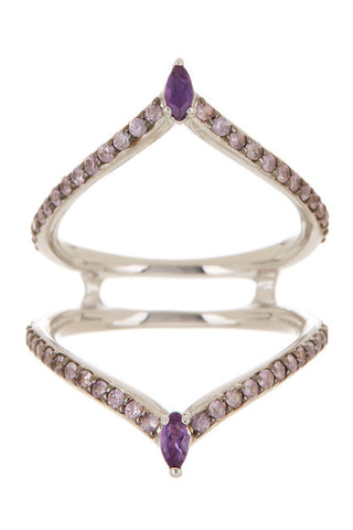 Alexis Bittar Sterling Silver Amethyst Marquise Outline Ring