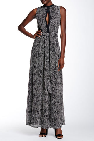 Alice + Olivia Ramon Mock Neck Keyhole Tie Belt Dress