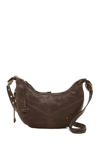 Frye Belle Leather Crossbody in Dark Grey