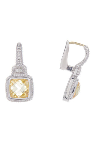 Judith Ripka Sterling Silver Cushion Cut Canary Crystal Earrings
