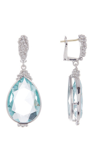 Judith Ripka Sterling Silver Bermuda Pear Shape Paraiba Spinel Drop Earrings